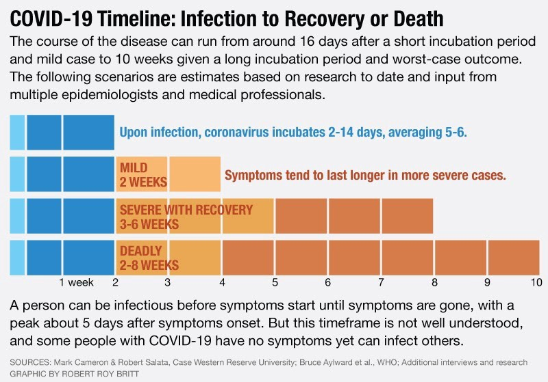 COVID-19 Timeline: Infection to Recovery or Death