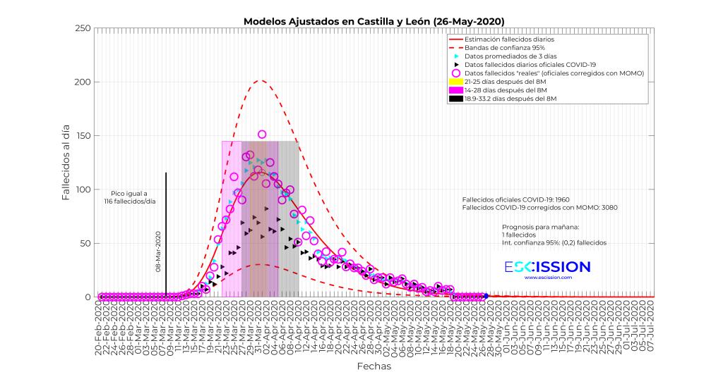 Datos de fallecimientos diarios en Castilla y León.